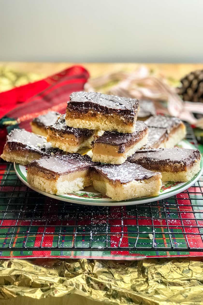 Horizontal view of Millionaire Shortbread Cookies