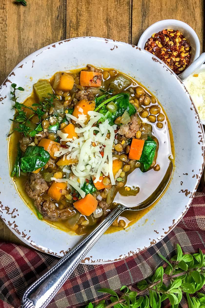 Easy Sausage Lentil Soup for Cozy Days | 31Daily.com