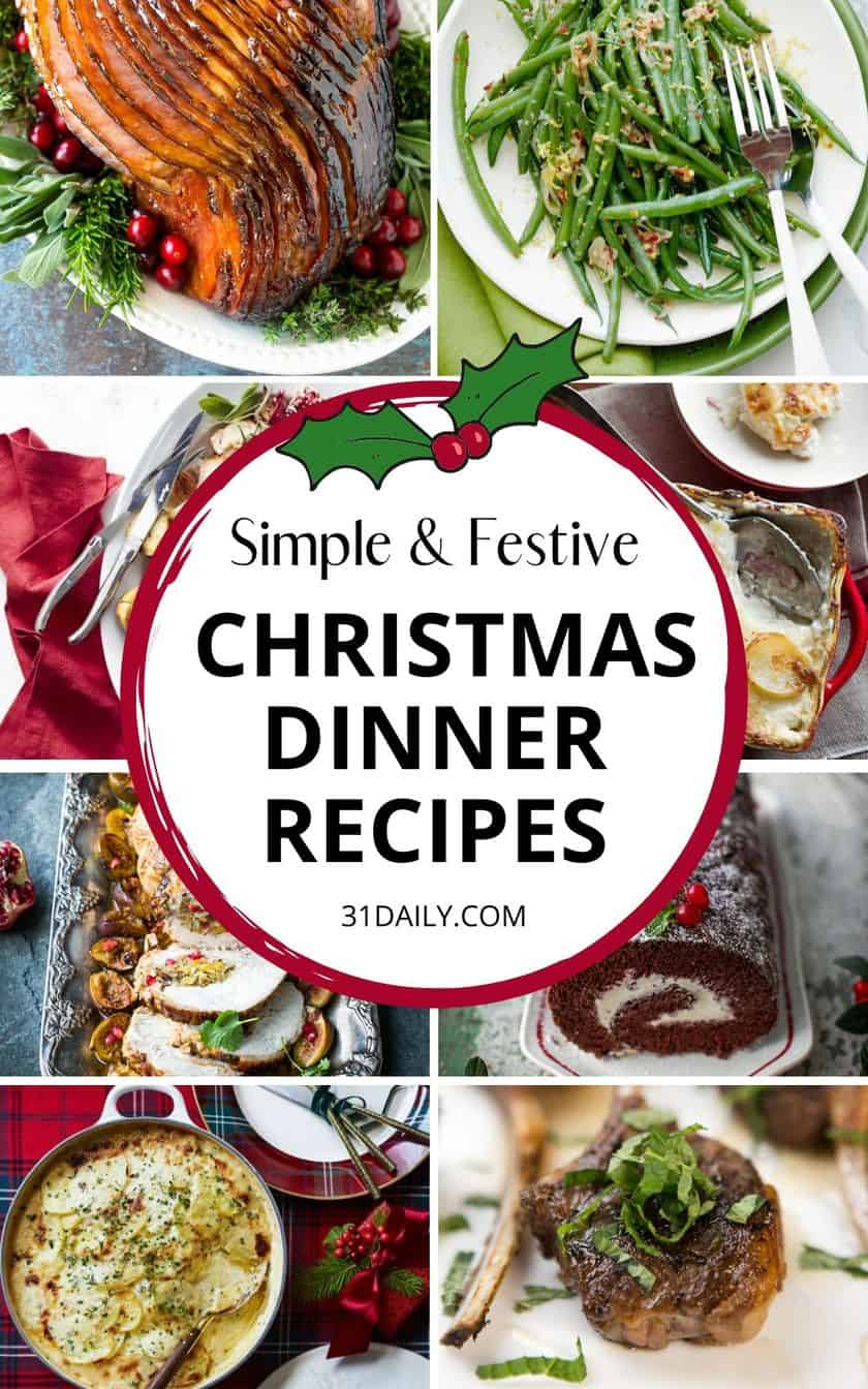 Pinterest Pin for Simple and Festive Christmas Dinner Recipes