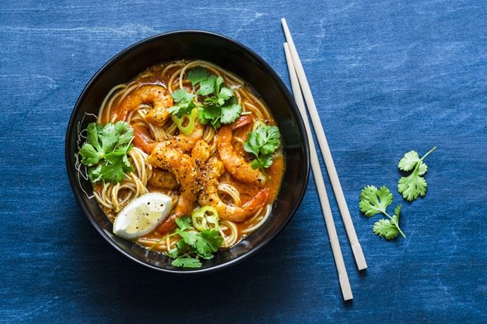 Asian Coconut Curry Noodle Soup with Shrimp | 31Daily.com