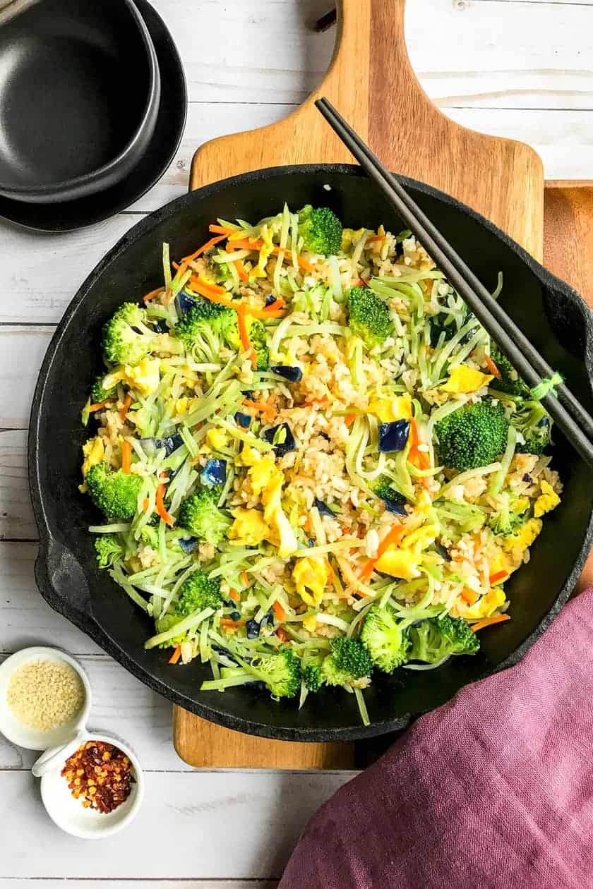 Easy Fried Rice with Broccoli Cabbage Slaw | 31Daily.com