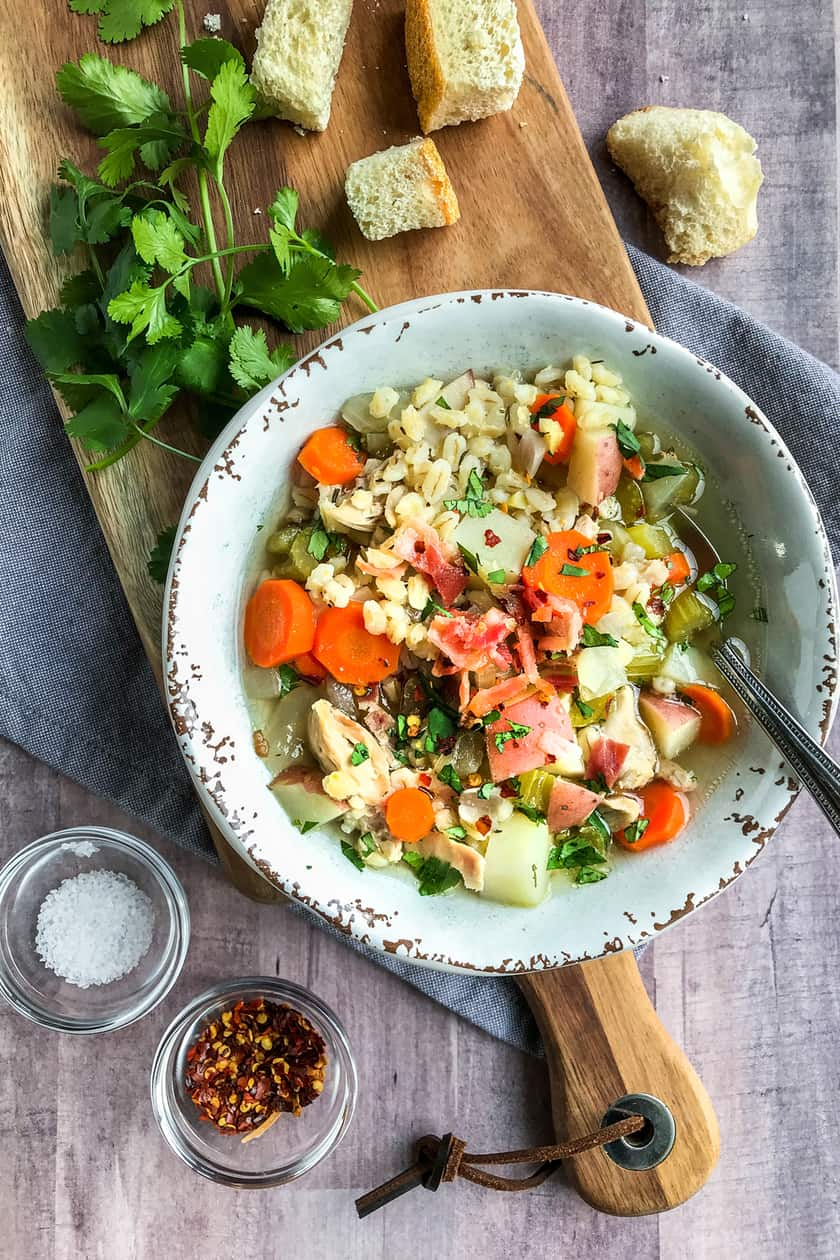 Healthy Slow Cooker Chicken Barley Soup Recipe | 31Daily.com