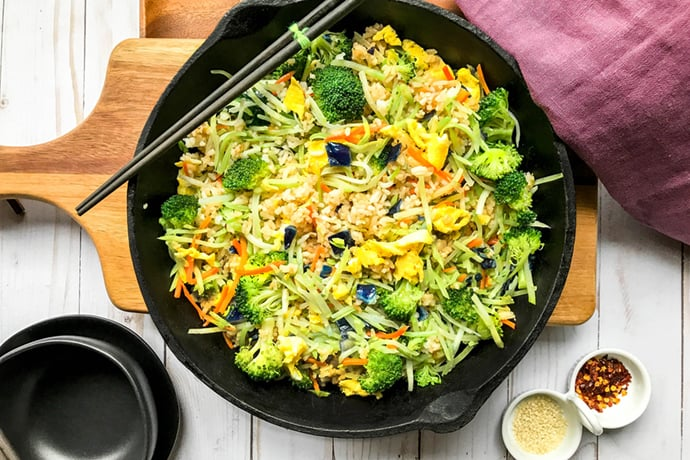 Easy Fried Rice with Broccoli Cabbage Slaw