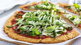 Easy Low Carb Cauliflower Pizza with Asparagus and Zucchini