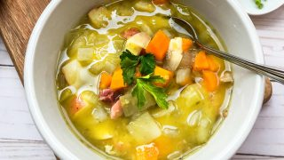 Simple Instant Pot Split Pea Soup with Ham and Vegetables