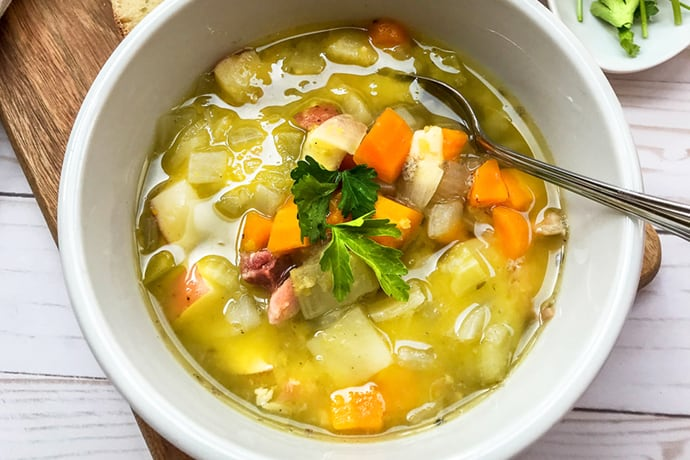 Simple Instant Pot Split Pea Soup with Ham and Vegetables | 31Daily.com