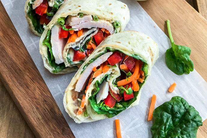 5 Minute Rainbow Protein Veggie Wraps