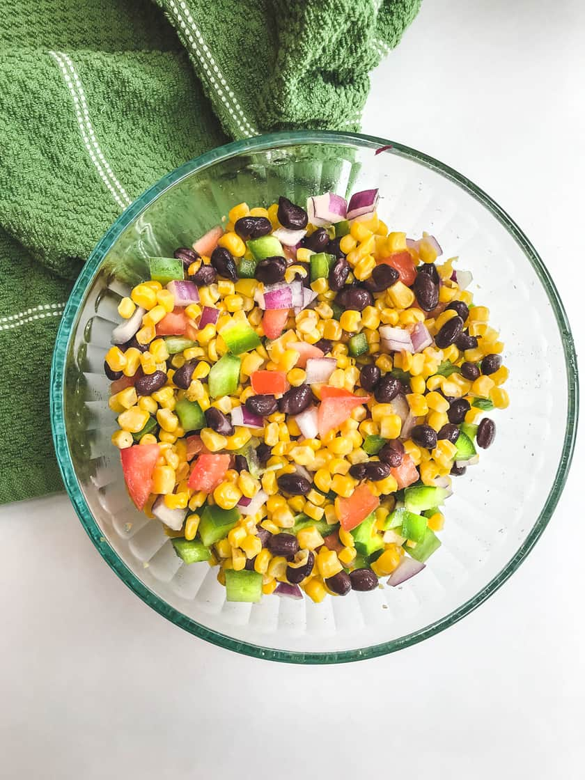 Mixed chopped Mexican Corn Salad in bowl