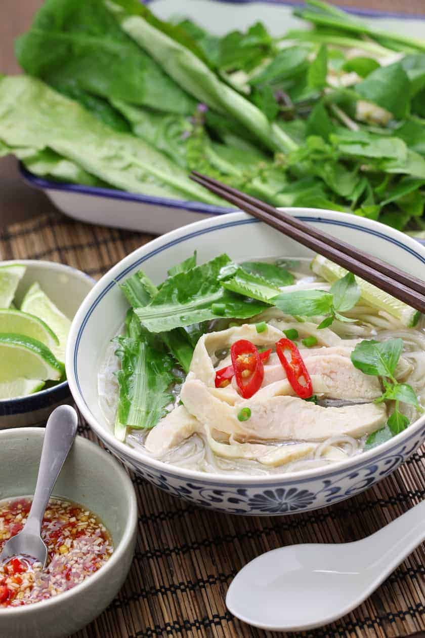 Instant Pot Chicken Pho with vegetables