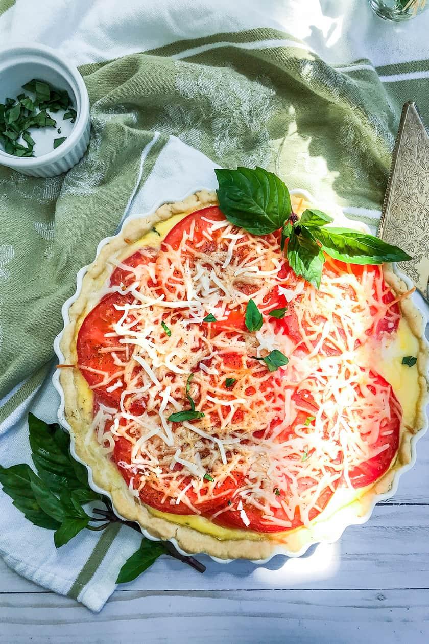 overhead view of tomato basil tart