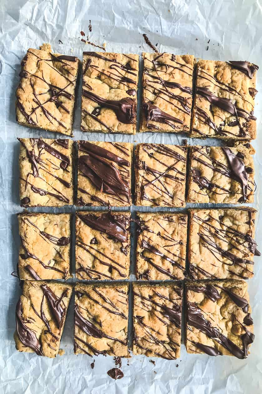 chocolate chip cookies cut into bars