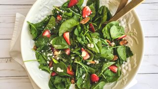 Strawberry Spinach Salad with Feta and Toasted Pecans