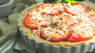 Tomato Basil Pie with Garlic Butter Crumb Crust