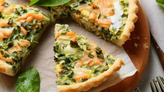Salmon Quiche with Spinach, Dill, and Mozzarella