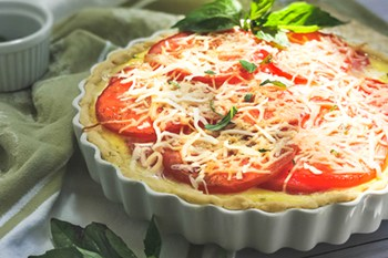 thumbnail of tomato tart in white tart pan