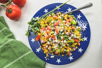 mexican corn salad with cluster of tomatoes
