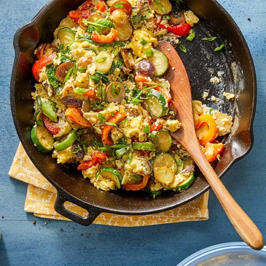 summer skillet vegetable egg scramble