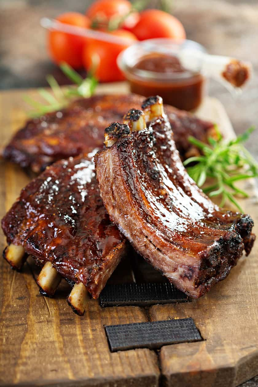 Cut Ribs with Barbecue Sauce