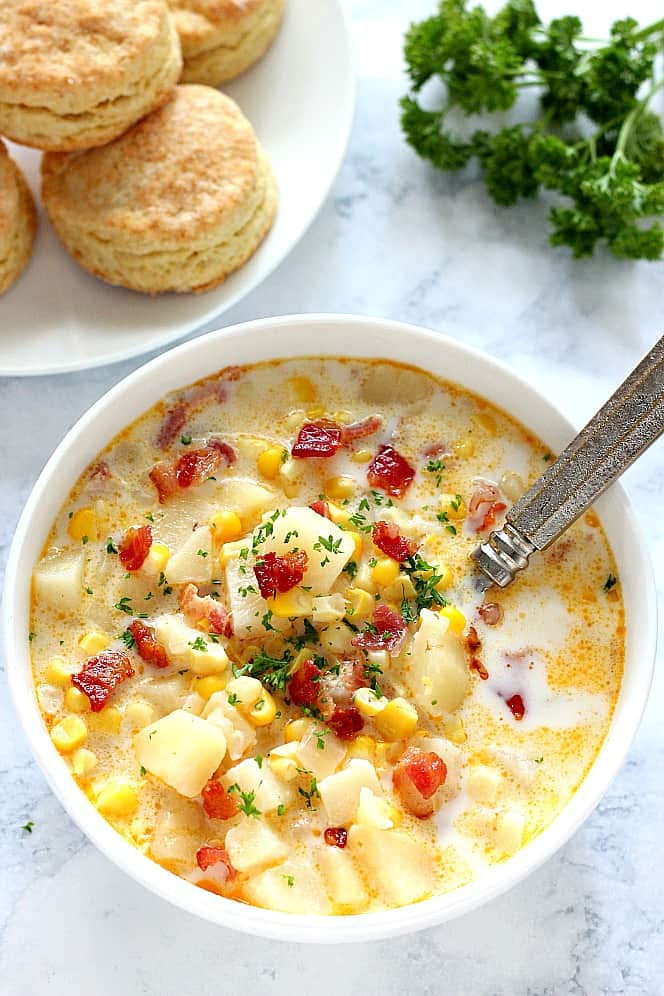Instant Pot Corn Chowder with Bacon Recipe
