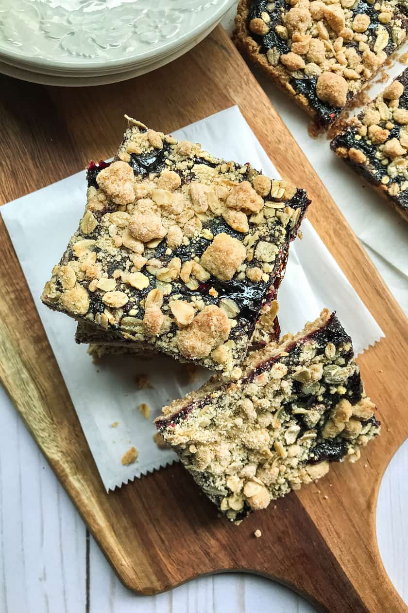 Squares of Blackberry Crumble Jam Bars