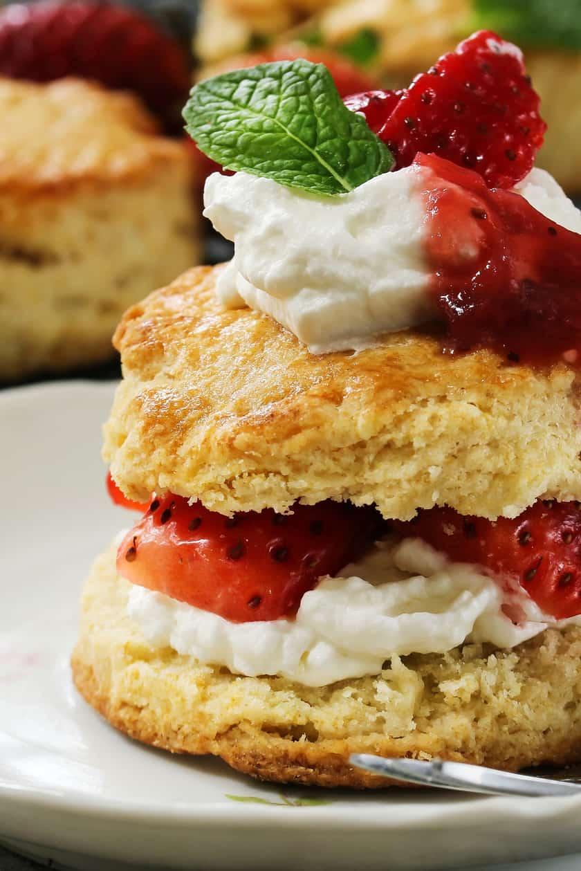 Closeup of a Classic Strawberry Shortcake