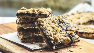 Blackberry Crumble Jam Bars with Oat Streusel