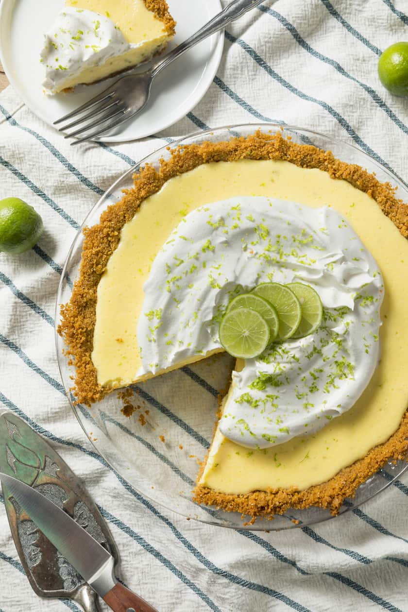 Key Lime Pie with a slice missing