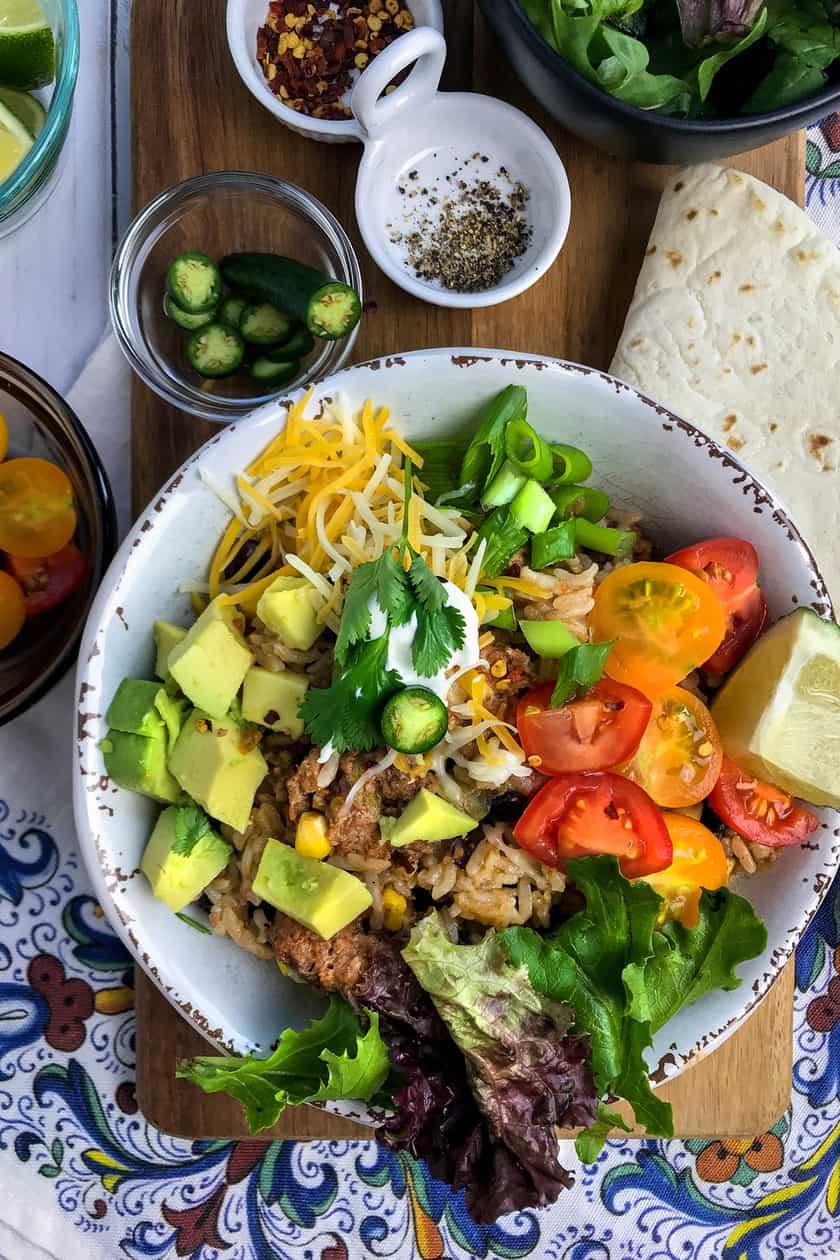 Ground Turkey Burrito Bowl with Avocados