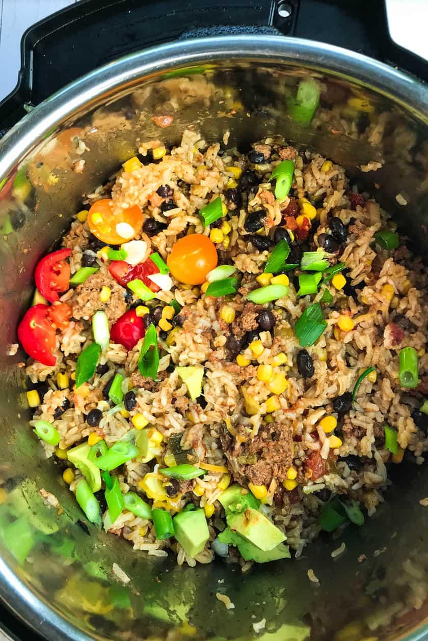 turkey burrito bowl filling in the Instant Pot