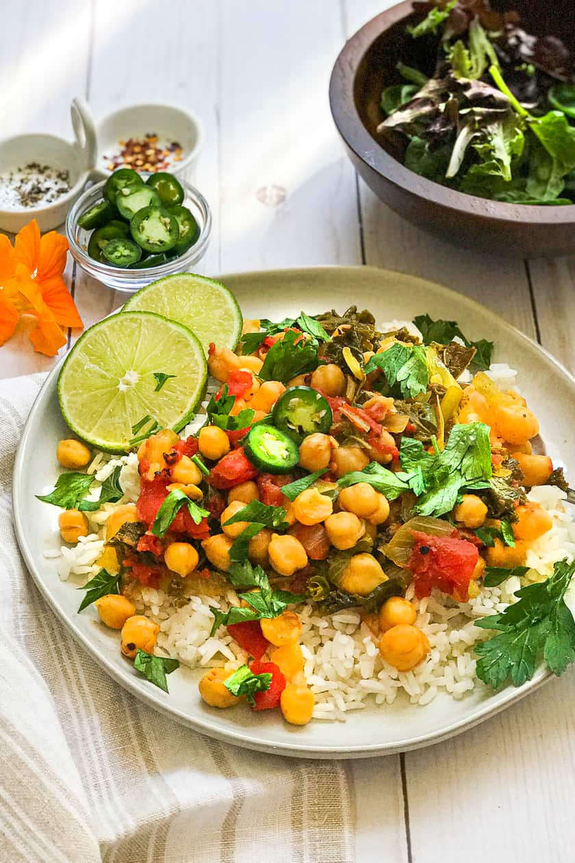 Chickpea Curry over White Rice