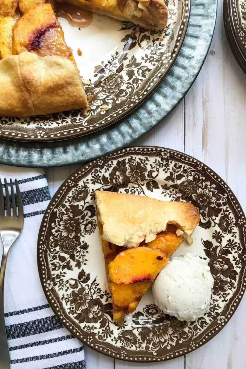 overhead photo of sliced peach galette