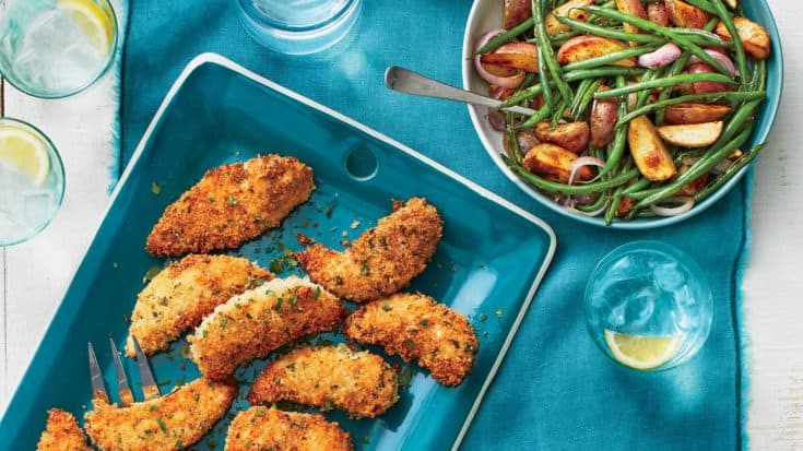 Buttermilk Chicken Tenders with Roasted Potatoes and Green Beans Recipe