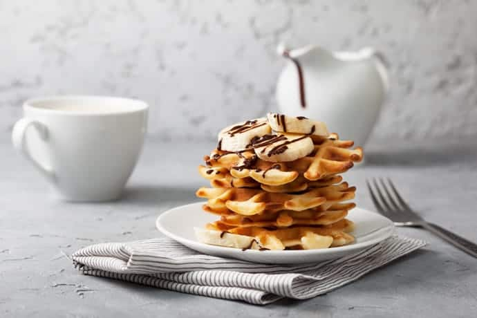 Chocolate Drizzled Banana Waffles