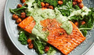 filet of salmon on grey plate