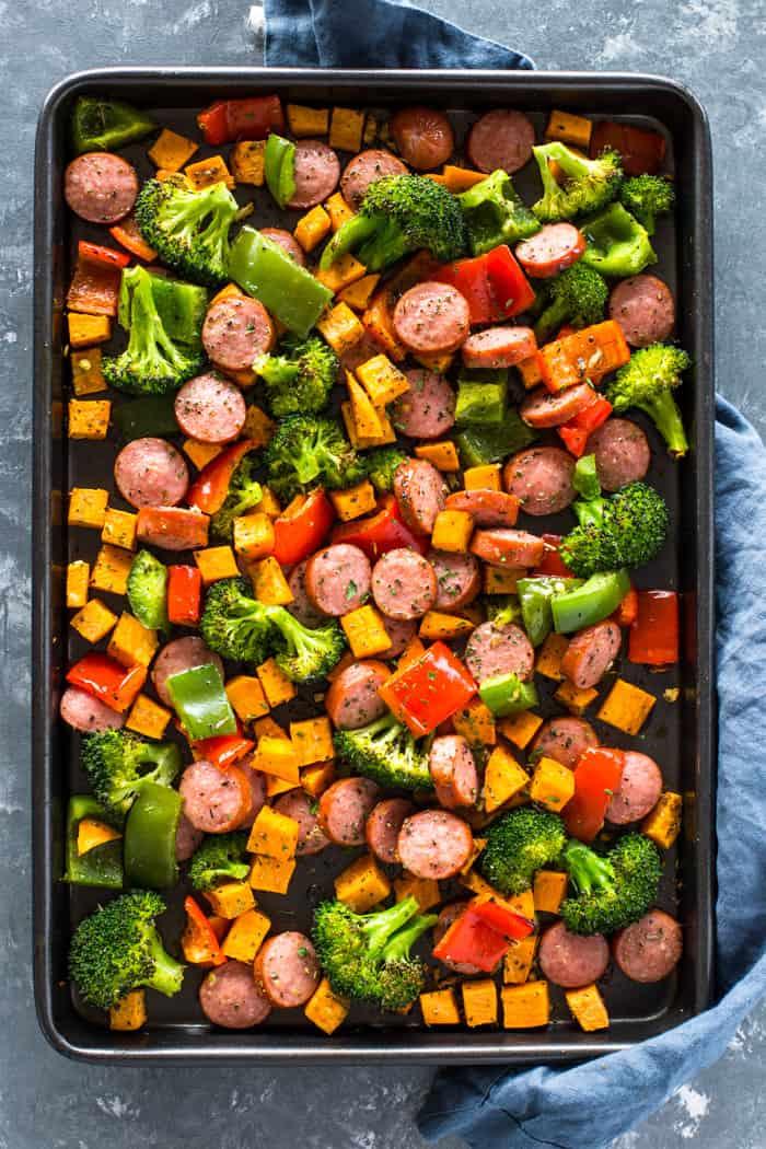 Monday: Healthy 20 Minute Sheet Pan Sausage and Veggies