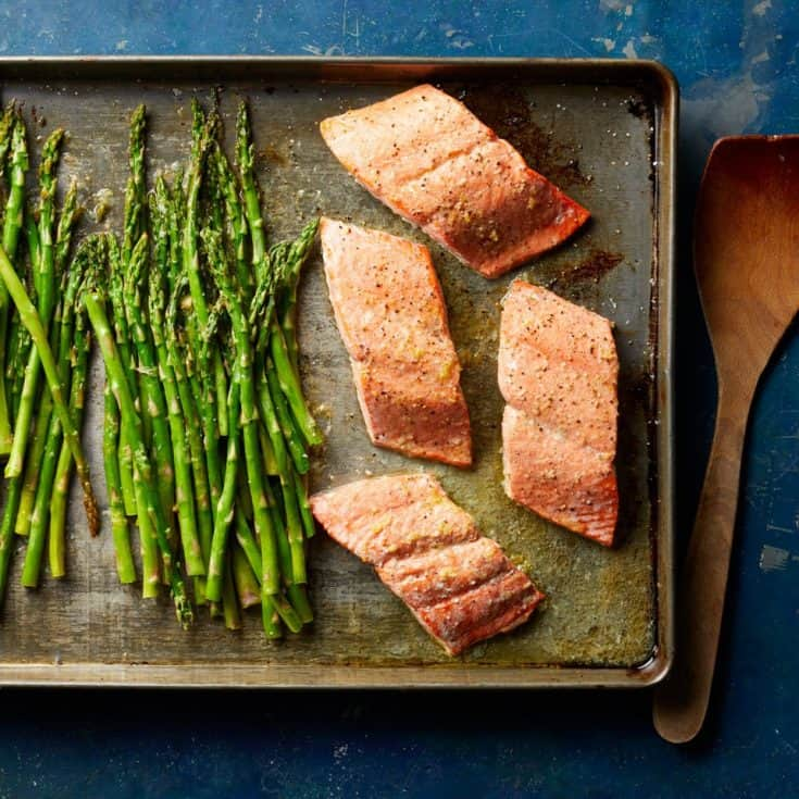 Thursday: Salmon & Asparagus with Lemon-Garlic Butter Sauce Recipe