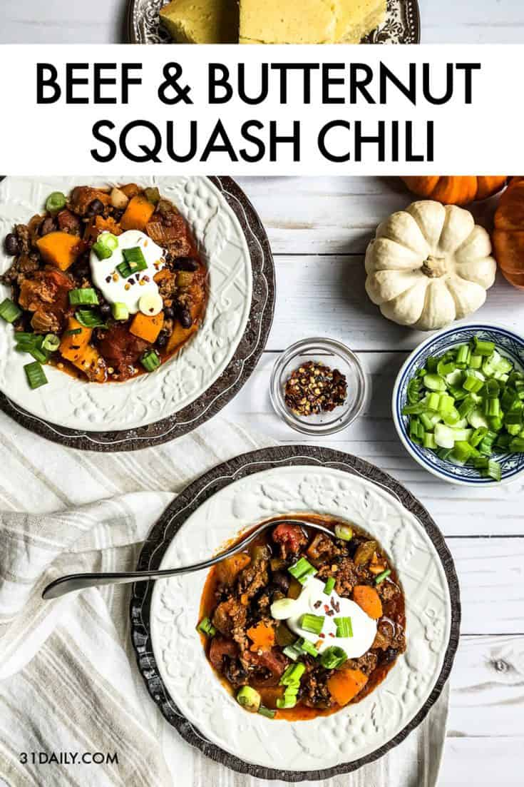 Beef and Butternut Squash Chili with Black Beans is an easy, weeknight chili recipe with healthy ingredients, addictive flavors that's comfortingly hearty. Beef and Butternut Squash Chili with Black Beans | 31Daily.com #chili #butternut #beef #fall #31Daily #onepot