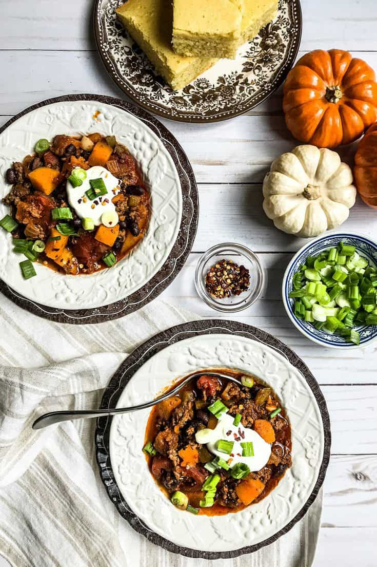 Thursday Halloween: Butternut Squash Beef Chili with Black Beans