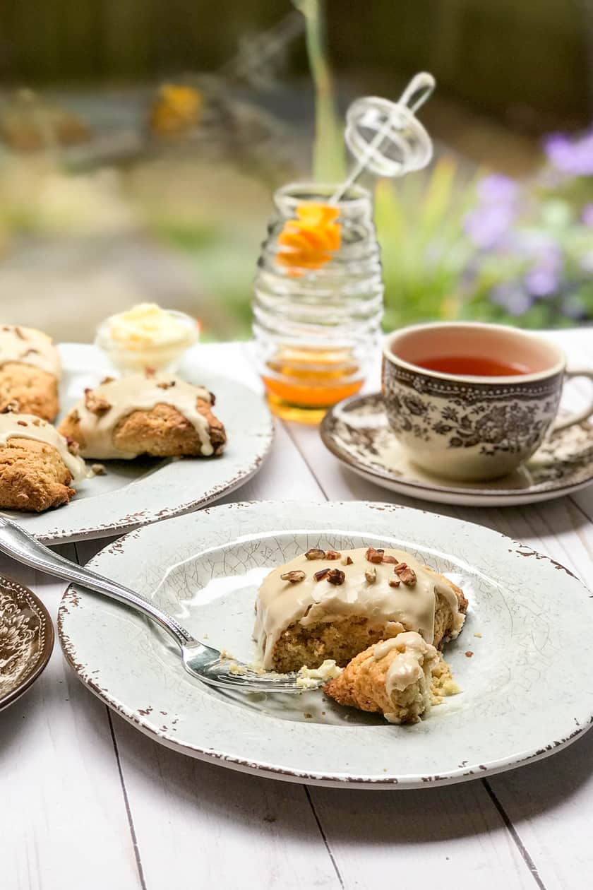 Maple Scones with tea and honey