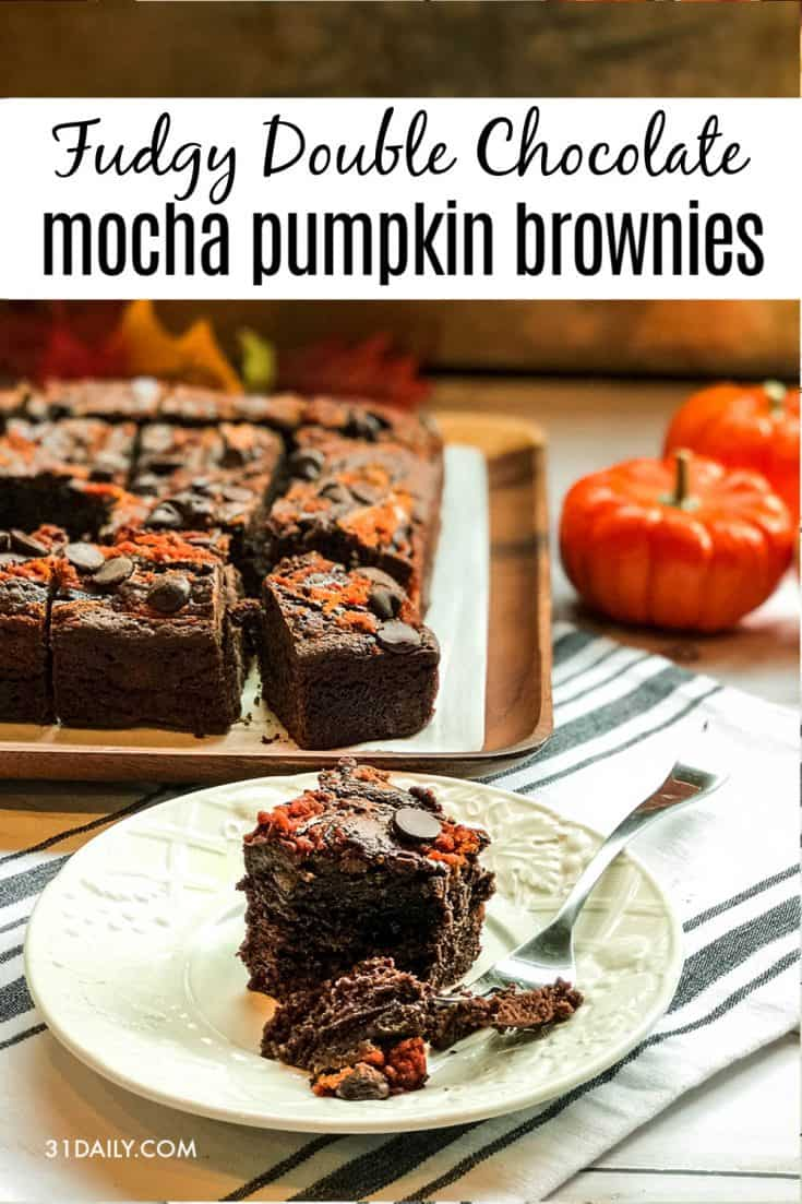 Fudgy Double Chocolate Mocha Pumpkin Brownies is a densely chocolate dream, with creamy orange pumpkin spice swirled into delicious fudgy bites. Fudgy Double Chocolate Mocha Pumpkin Brownies | 31Daily.com #pumpkinspice #brownies #mochapumpkin #mocha #fall #chocolate #31Daily