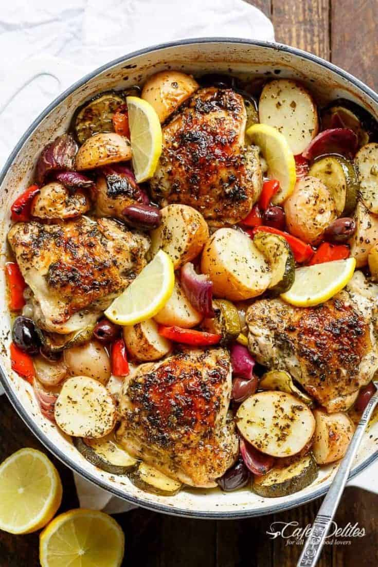 Wednesday: Garlic Lemon Herb Mediterranean Chicken + Potatoes (One Pan)