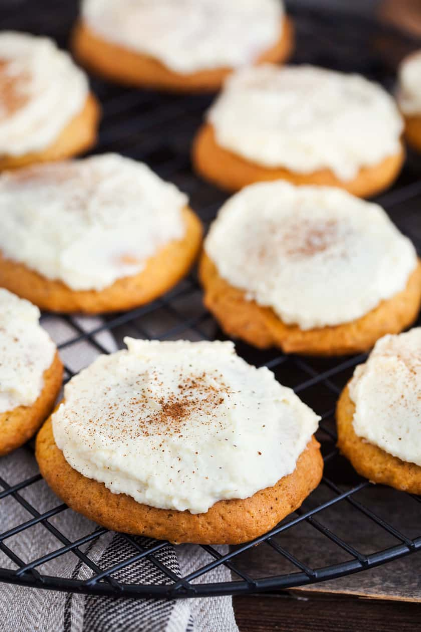 closeup of frosted pumpkin spice cookies
