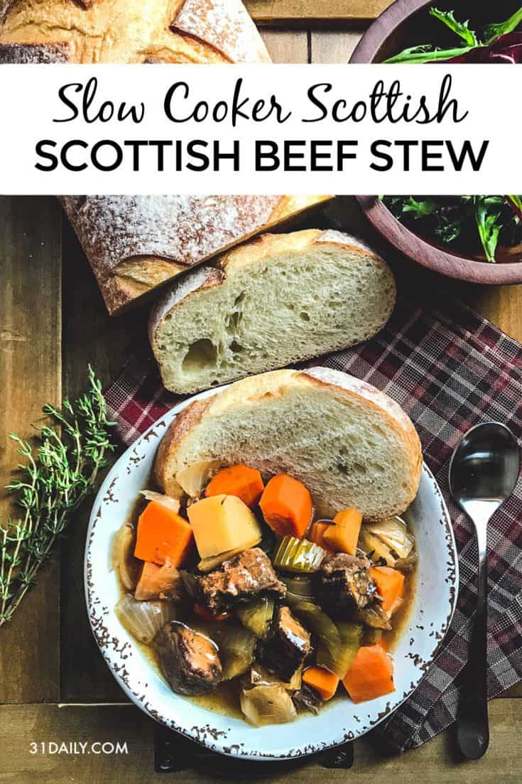 Slow Cooker Scottish Beef Stew is hearty, fall-apart tender and braised in a fragrant herb broth that is succulently delicious. Cozy Slow Cooker Scottish Beef Stew | 31Daily.com #scotland #scottish #beefstew #slowcooker #main #fall #winter #31Daily