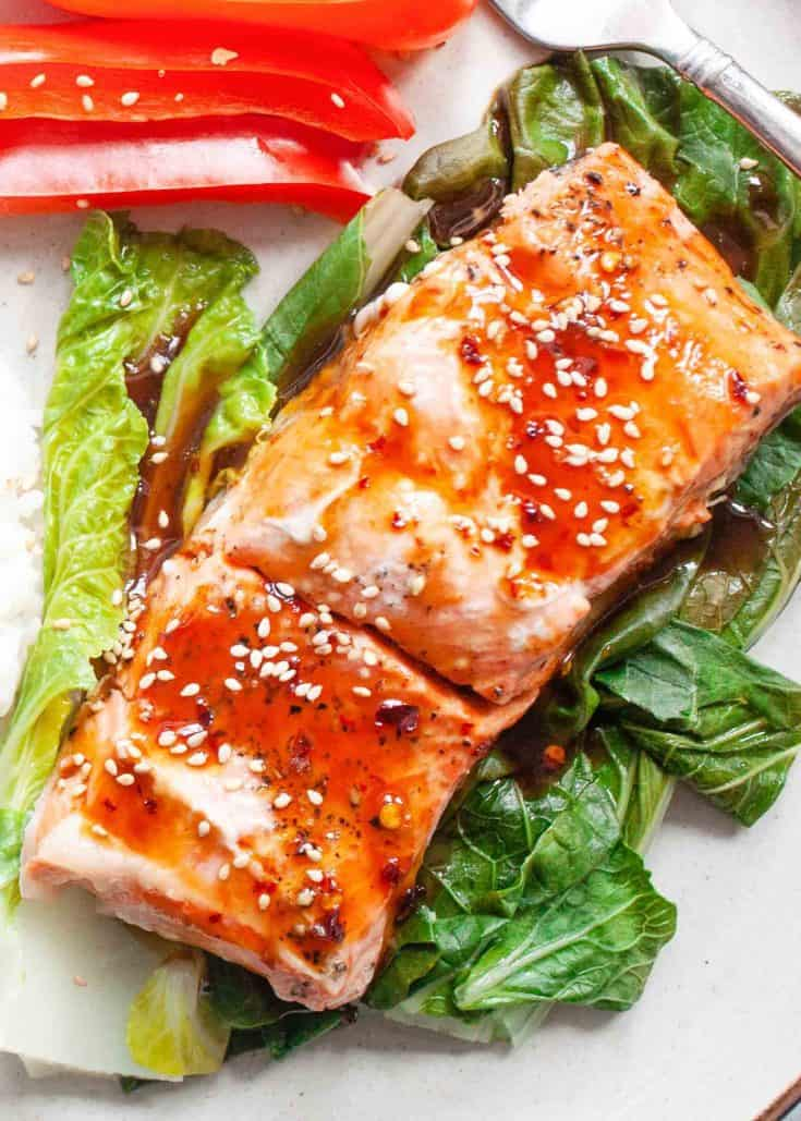 Thursday: Ginger-Soy Steamed Salmon with Spicy Maple Sauce Recipe