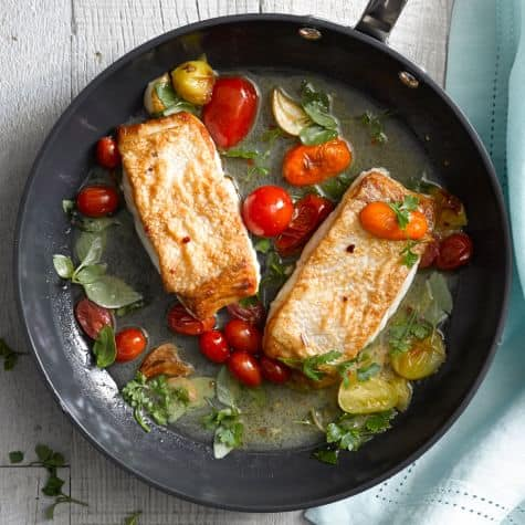 Thursday: Pan-fried Halibut with Tomatoes and Basil