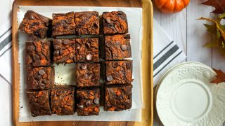 Fudgy Double Chocolate Mocha Pumpkin Brownies