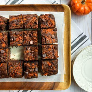 Fudgy Double Chocolate Mocha Pumpkin Brownies