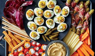 deviled eggs on a tray