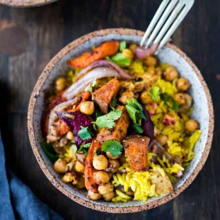 Monday: Turmeric Rice Bowl with Garam Masala Root Vegetables & Chickpeas