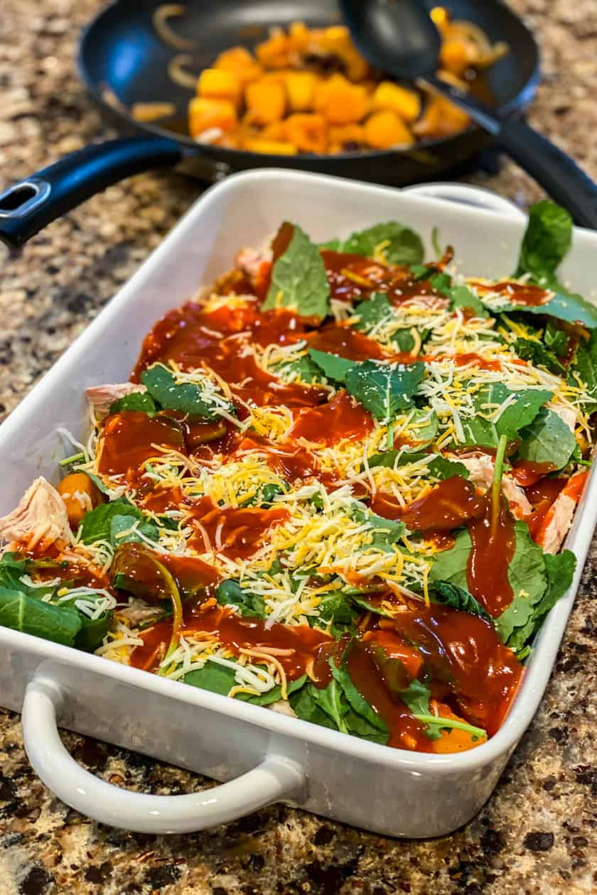 Layering the Mexican Butternut Squash Casserole